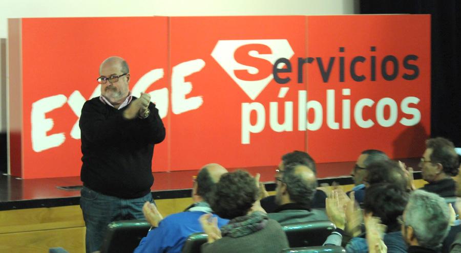 Enrique Fossoul en un acto en defensa de los servicios públicos. Madrid, 19 de noviembre de 2014. Julián Rebollo