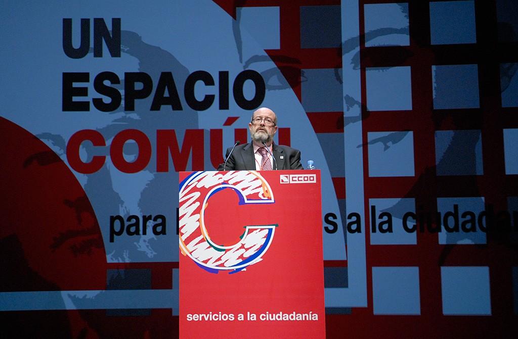 Enrique Fossoul en el Congreso constituyente de FSC-CCOO. Barcelona, 6 de marzo de 2009. Archivo FSC-CCOO