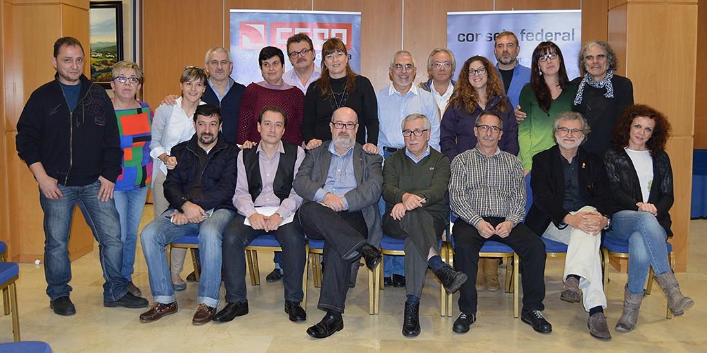 Secretariado de FSC-CCOO junto con representantes de la C.S. de CCOO. Girona, 28 de noviembre de 2014. Archivo FSC-CCOO