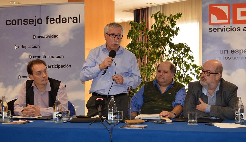 Ignacio Fernández Toxo se dirige al Consejo federal. Girona, 28 de noviembre de 2014. Archivo FSC-CCOO